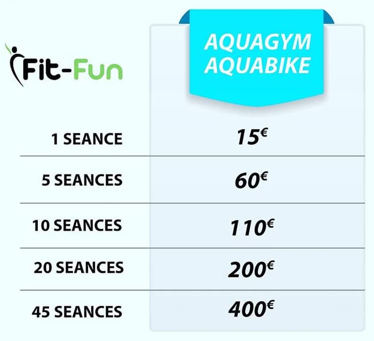 Tarifs Aquabike FitFun