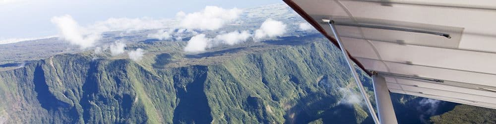 First flight Microlighting volcano lagoon Reunion island