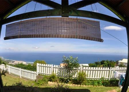 Vue de la terrasse chalet Nid tropical