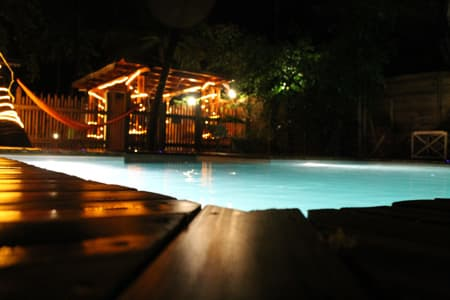 Swimming pool on the night