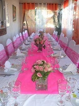 Exemple de table de réception