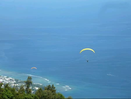 View of the Ocean and the paragliders