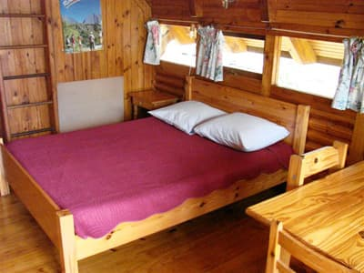 double bed of a small cottage