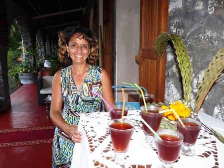 Mrs Velia offers refreshments