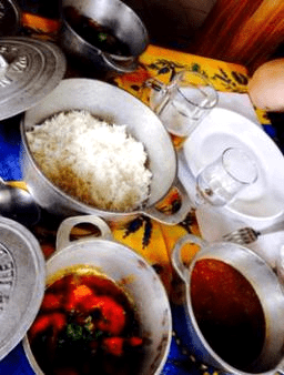 Dishes are served in local pots