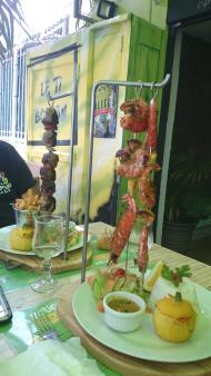 Choose between meat or fish hanging kebabs!